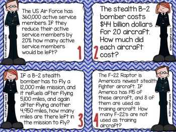 Veterans Day Math | Problem Solving Task Cards (Air Force)