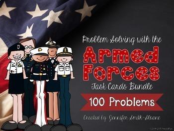 Veterans Day Math   Problem Solving Task Card Bundle (All Armed Forces)