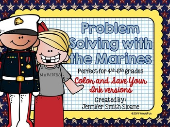 Problem Solving with the Marines Task Cards (Color and Save Your Ink)