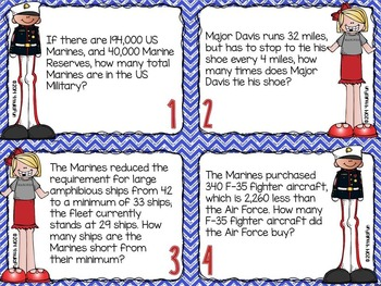 Problem Solving Task Cards (Marines)
