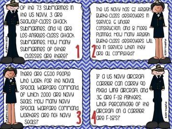 Veterans Day Math | Problem Solving Task Cards (Navy)