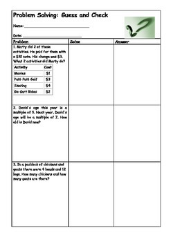 Problem Solving worksheets