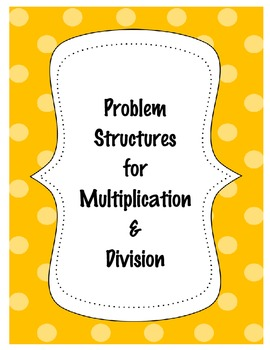 Problem Structures for Multiplication and Division 3.OA.A.1, 3.OA.A.2, 3.OA.A.3