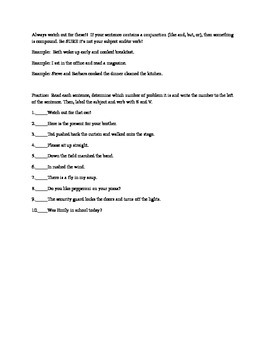Problem Subjects and Verbs