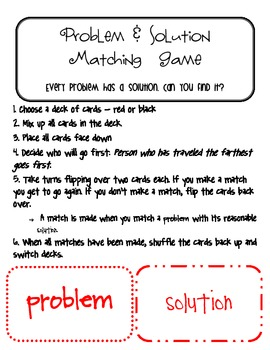 Problem and Solution Memory/Matching Game