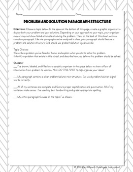 Problem and Solution Text Structure: Paragraph Analysis and Writing Assessment