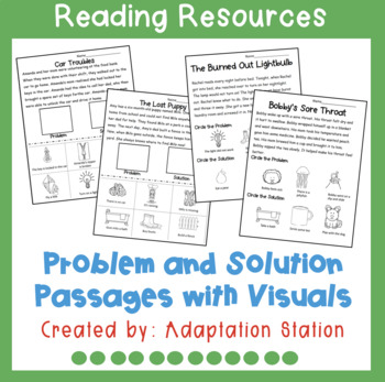 Problem and Solution Visual Support Worksheets