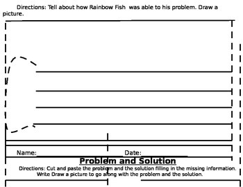 Problem and Solution Worksheet for Rainbow Fish