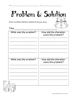 Problem and Solution Worksheets and Graphic Organizers