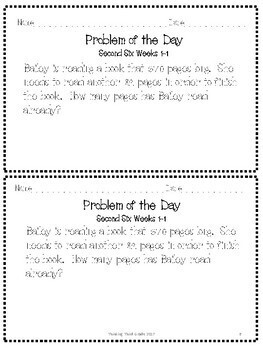 Problem of the Day 2nd Six Weeks 3rd 4th TEKS CCSS