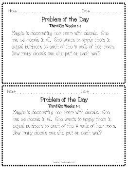 Problem of the Day 3rd Six Weeks 3rd 4th TEKS CCSS