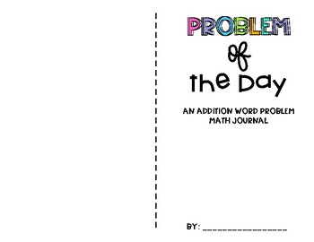 Problem of the Day Addition Word Problem Math Journal