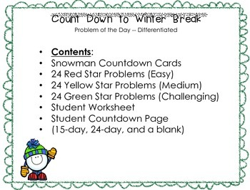 Problem of the Day -- Countdown to Winter Break! (Advent Calendar)