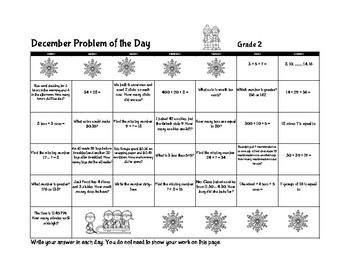 December Math Problem of the Day Calendar (Gr 2)