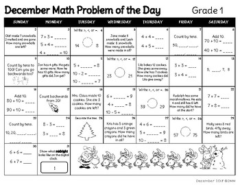 December Math Problem of the Day Calendar (Gr 1)