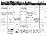 December Math Problem of the Day Calendar (Gr 1)
