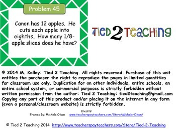 Problem of the Day (Fractions) *SAMPLE PACK* Word Problems for the Middle Grades