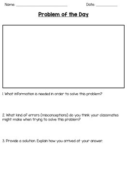 Problem of the Day Math Reflection Forms Freebie