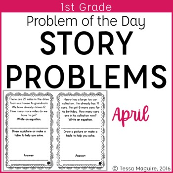 Problem of the Day Story Problems 1st Grade- April