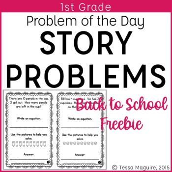 Problem of the Day Story Problems 1st Grade- Back to School {freebie}
