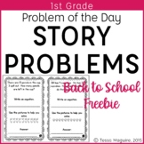 1st Grade Word Problem of the Day Story Problems Back to School Problem Solving