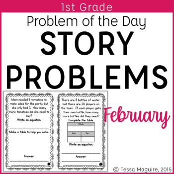Problem of the Day Story Problems 1st Grade- February
