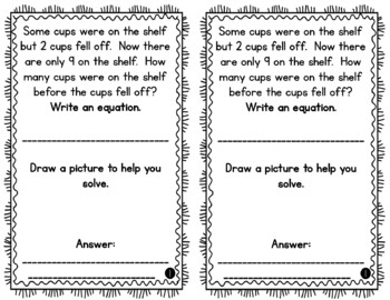 Problem of the Day Story Problems 1st Grade- January