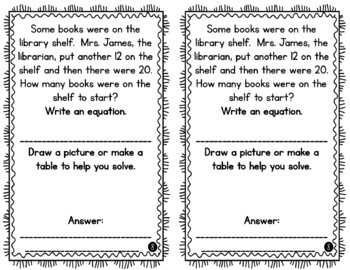 1st Grade Word Problem of the Day Story Problems- March