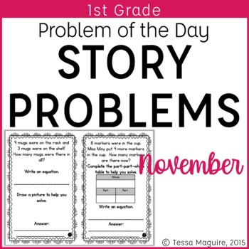 Problem of the Day Story Problems 1st Grade- November
