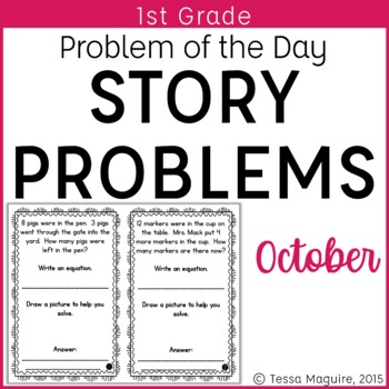 Problem of the Day Story Problems 1st Grade- October