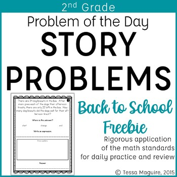 Problem of the Day Story Problems 2nd Grade- Back to Schoo