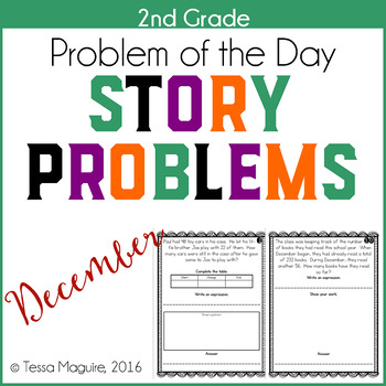 Problem of the Day Story Problems 2nd Grade- December