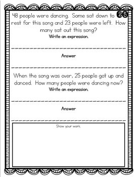Problem of the Day Story Problems 2nd Grade- September
