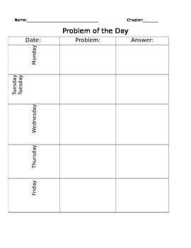 Problem of the Day Template