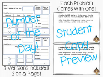 A WHOLE YEAR of Word Problems & Number of the Day Mega Bundle!!