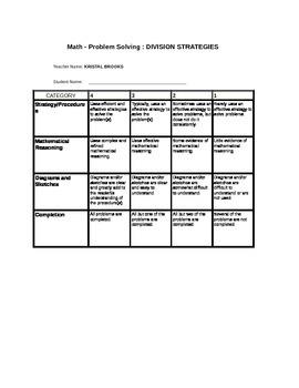 Problem solving division rubric