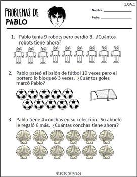 Problemas de Pablo 1.OA.A.1 First Grade Math