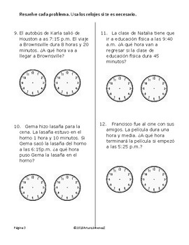 Problemas de tiempo - Tercer Grado - STAAR