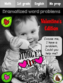 Valentine's Dramatized Math Word Problems (Spanish and English)