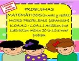 Problemas matemáticos diarios (sumas y restas): Word problems(Spanish) ESOL
