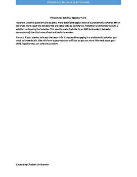 Problematic Behavior Questionnaire