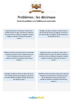 Problèmes - Les décimaux -CM1-6e