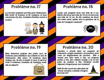 Problèmes écrits de l'Halloween (Halloween Word Problems in French)