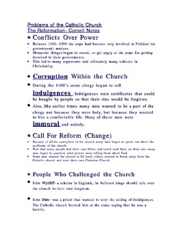 Problems With the Catholic Church-Reformation Outline Notes