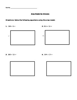 Problems for Area Model for Division