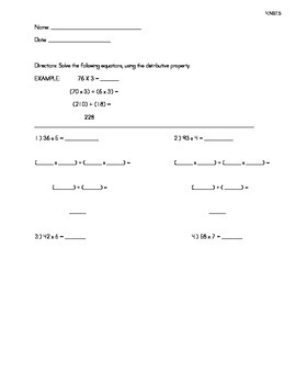 Problems for Distributive Property for Multiplication - 2x1, 3x1, and 4x1