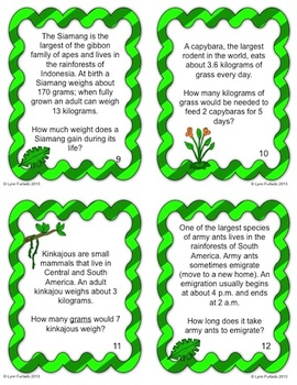 Problems in the Rainforest ... by horizons | Teachers Pay Teachers