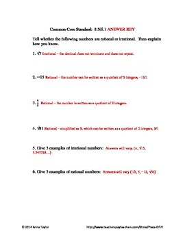 Math 8.NS.1 Problems of the Day, Bell work, Rational & Irrational Numbers