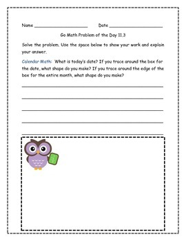 Go Math! Problems of the Day for 2nd Grade Chapter 11