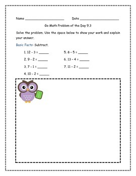 Go Math! Problems of the Day for 2nd Grade Chapter 9